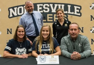 Pictured (L to R): Front Row: Karen Crowe, Taylor Crowe, Craig Crowe. Back Row: Noblesville Head Soccer Coach Mike Brady, Noblesville Assistant Soccer Coach Kristin Hetzel
