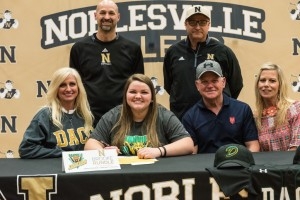 Pictured (L to R): Front Row: Christy Rundle, Brooke Rundle, Brian Rundle, Back Row: Noblesville Head Softball Coach Deke Bullard, Noblesville Assistant Softball Coach Larry DeSalvo