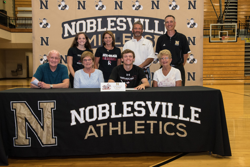 Pictured (L to R): Front Row: Jim Shields, Linda Shields, Harris Camp, Jenny Camp. Back Row: Presley Camp, Chris Camp, Andy Camp, Noblesville Baseball Head Coach Justin Keever.
