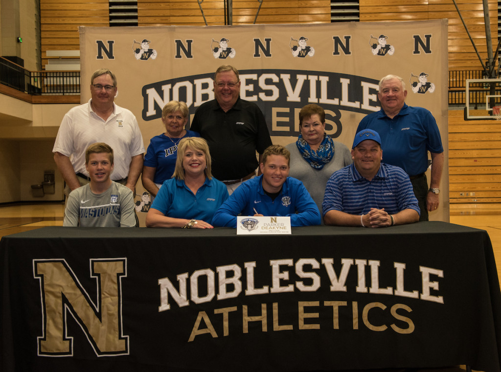 Pictured (L to R): Front Row: Jacob Deakyne, Jennifer Deakyne, Parker Deakyne, Father and Noblesville Boys Golf Head Coach Gary Deakyne. Back Row: Noblesville Boys Golf Head Coach Gary Sewell, Suzanne Boram, Larry Boram, Peggy Deakyne, Pete Deakyne.