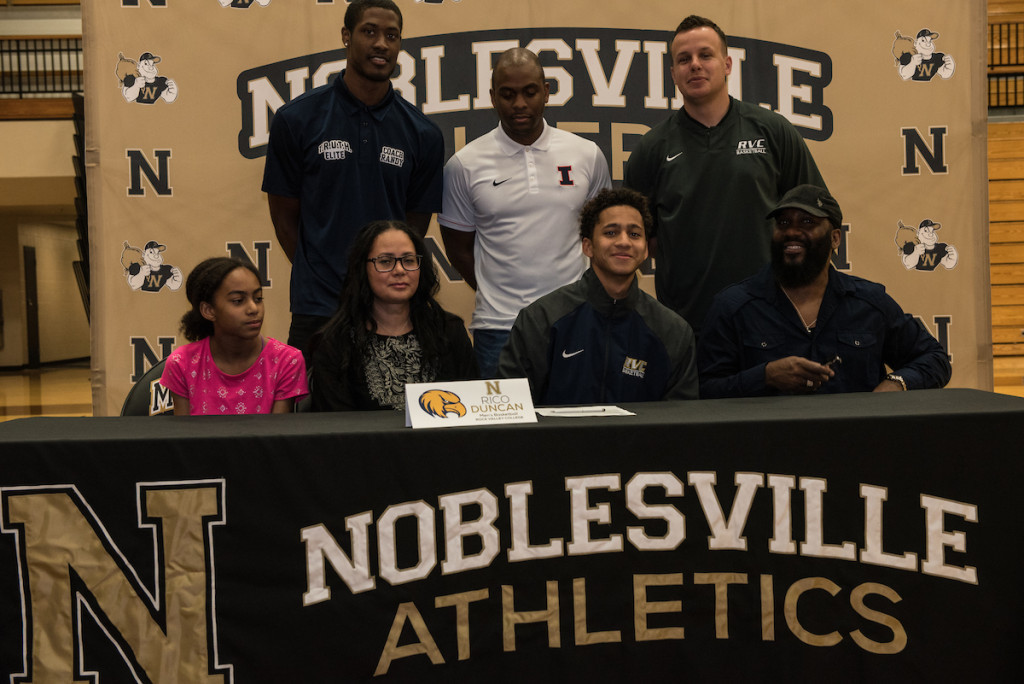 Pictured (L to R): Front Row: Bella Duncan, Elisa Duncan, Rico Duncan, Adrian Duncan. Back Row: Randy Reed, Noblesville Basketball JV Head Coach Corey Taylor, Evan Lavery.