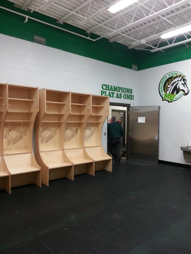 Boys hockey locker room mounds view mustangs moundsview high school sports