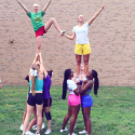 Varsity Sideline Cheer – 2nd practice & they have their first stunt complete!