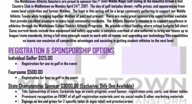 """Middletown Athletics Hosting """"Middie Magic"""" Golf Outing Mon 4/24 @ Brown's Run CC"""