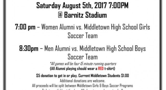 Middies Alumni Soccer Game Sat 8/5 7pm Start @ Barnitz Stadium
