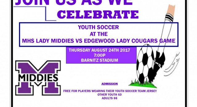 Youth Soccer Night at Lady Middies Soccer Game Thurs 8/24 vs. Edgewood