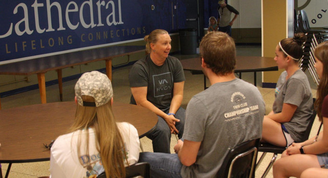 Coach Hill Meets with Cathedral Swimmers and Parents