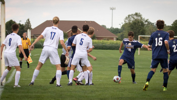 Junior Nate Griffin knocks in the early goal of the game to put the Irish up 1-0.