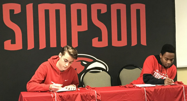 Two Boys Soccer players sign with Simpson University!