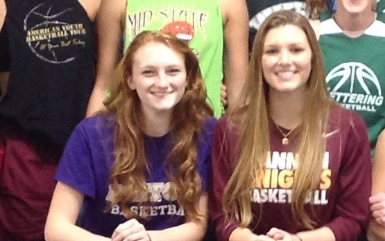 Haley Tewes and Emily Bernas Playing Basketball in College