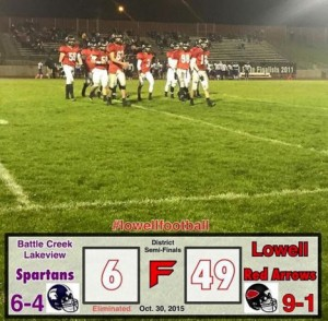 Lowell-BC Lakeview postgame graphic.