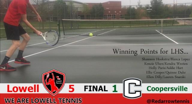 Lowell High School Girls Junior Varsity Tennis beat Coopersville High School 5-1