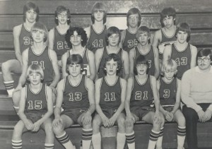 Front row: Scott Noffke, Craig Eley, Mark Butterworth, Jeff Dykhuizen, John Anderson, Coach White. Middle row: Kevin Conrad, Jim Adkins, Bruce Friesner, Paul Baerwalde, Steve Doyle. Back row: Gary Ellison, Jeff Stormzand, Jon Bieri, Franz Blattner, Tom Brown.