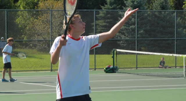 Lowell High School Boys Varsity Tennis ties Cedar Springs High School 4-4