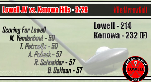 Lowell High School Boys Junior Varsity Golf beat Kenowa Hills High School 214-232