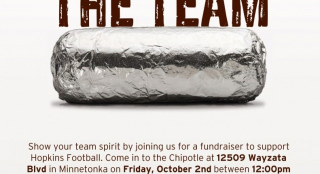 Chipotle Football Fundraiser – Friday, October 2nd
