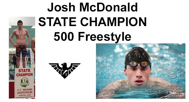 Boys Swimmer Josh McDonald Earns State Title!!!