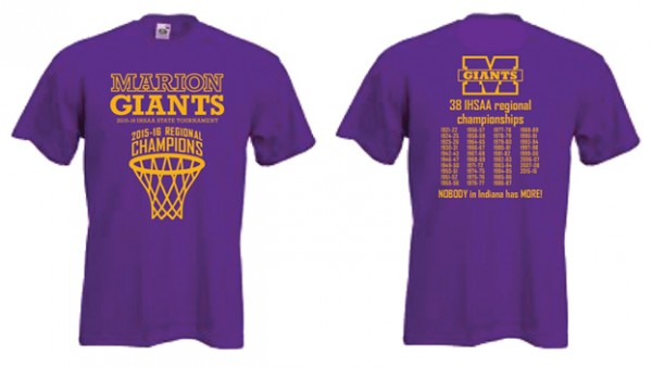 Order your 2016 regional champs t shirt today marion for High school basketball t shirts
