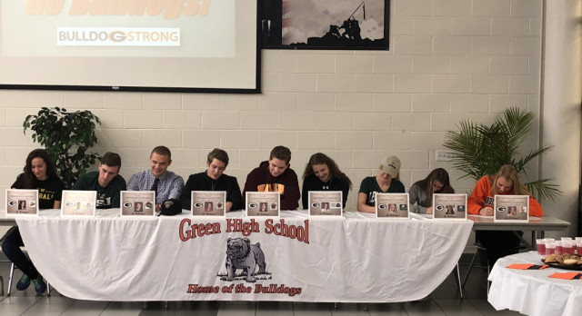 Athletic Signing: Green Celebrates 9 Student-Athletes Playing at Collegiate Level