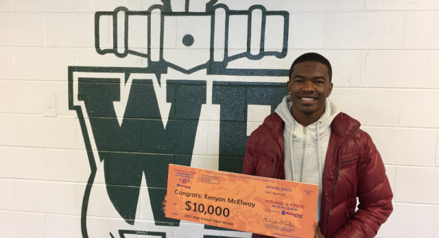 KENYON MCELWAY WINS $10,000 MICHIGAN FIRST CREDIT UNION SCHOLARSHIP