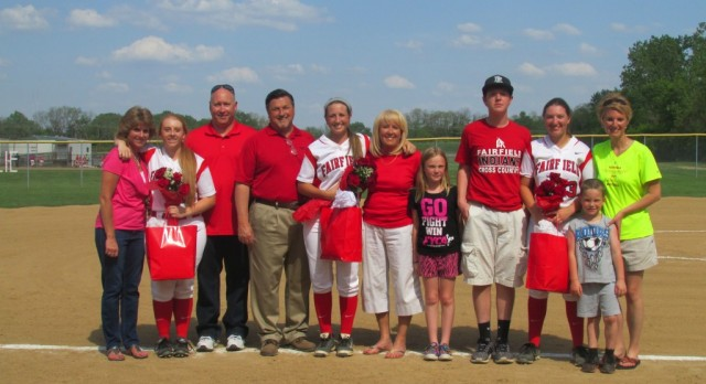 Softball finishes regular season with win over Sycamore 8-0 and honor their Seniors