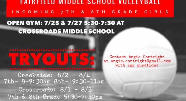 Middle School Volleyball Open Gyms and Tryout Information