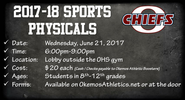 2017-18 Sports Physicals set for June 21st!