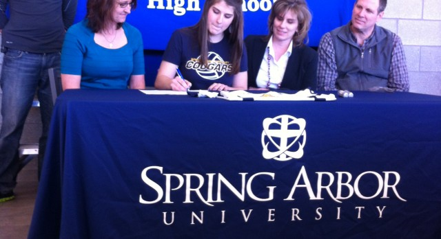 Volleyball's Leah Rose signs with Spring Arbor.