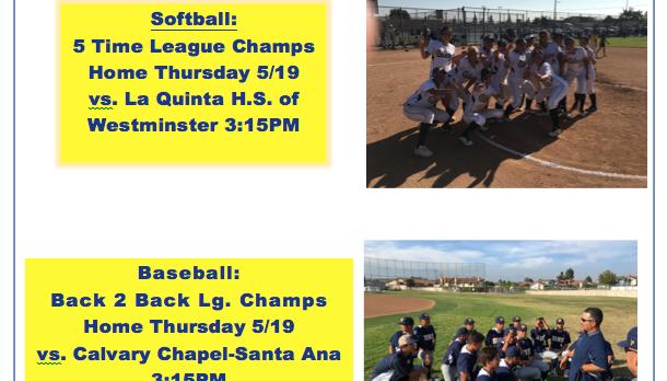 Softball & Baseball Play-Off Home Thursday