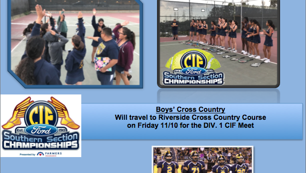 Tennis on to Quarters. XC and FB on to CIF.