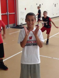 Trey Fetzer Showing his W at BBAll Camp