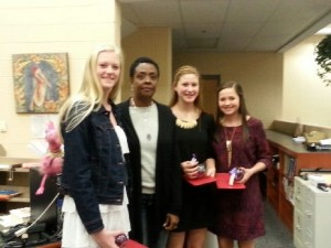(l to r) Rebecca Barksdale, Mrs. Ty Smith, Alyssa Triner and Taryn Mullholand
