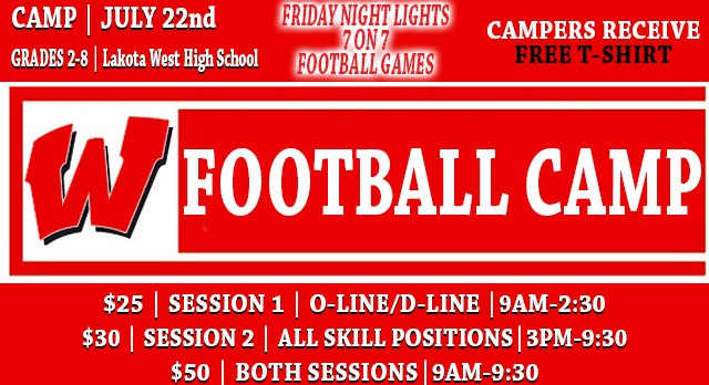 """Sign-up Today: 2016 """"Friday Night Lights"""" West Football Camp"""