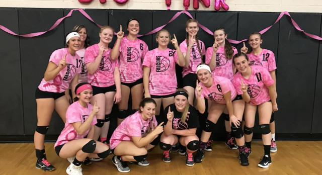 """Falcons Defeat Garber in """"Dig Pink"""" Event"""