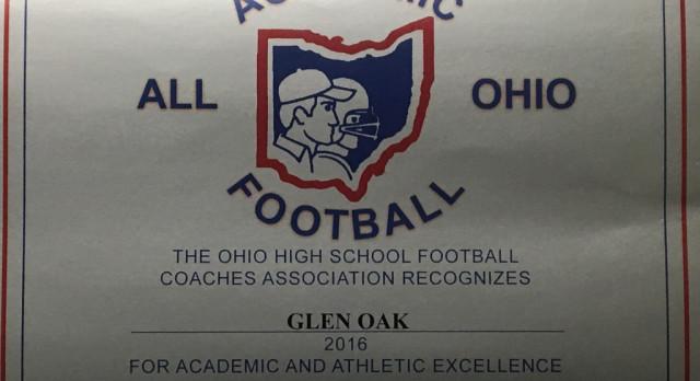 GlenOak Football Team Academic All-Ohio