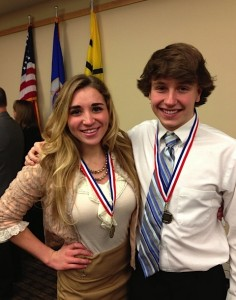 "Mound Westonka High School seniors Paige Beyer and Grant Peipkorn at the MSHSL Triple ""A"" Award banquet"