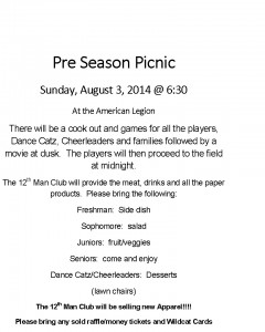 Football Pre Season Picnic