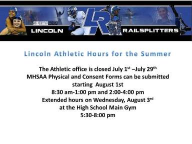Lincoln Athletic Office Summer Hours