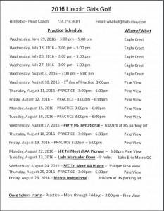 Gold Summer Schedule