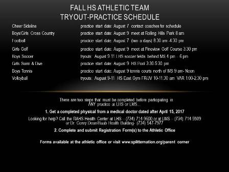 Fall HS Athletic Team Tryout Practice Schedule