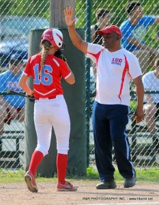 Coach Wilkerson talks with Meredith Niese