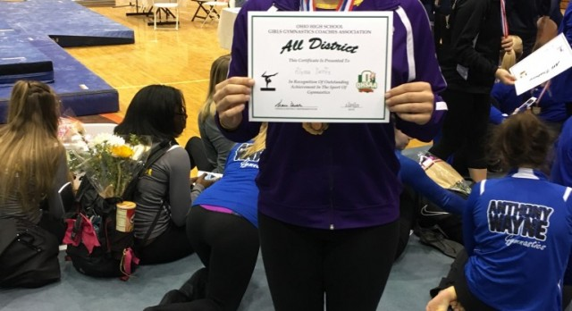 Maumee High School Girls Varsity Gymnastics Finishes 8th Place