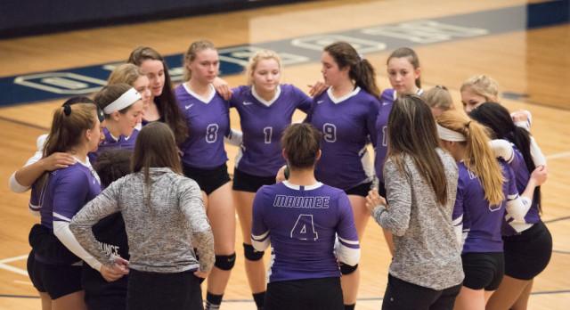 Maumee High School Girls Varsity Volleyball beat Napoleon High School 3-2