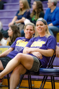 The Neyhart sisters take a break on the bench