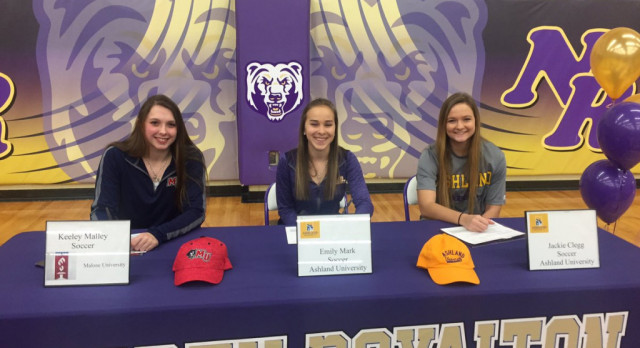 Congrats to Lady Bear Soccer Players Malley, Mark & Clegg on NCAA NLI Signing Day