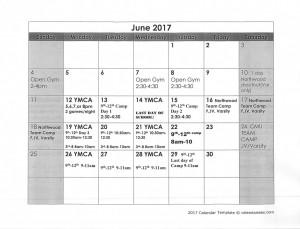 Boys Basketball June and July 2017 Calendars