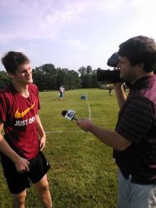 Senior Alec Baker is interviewed by WNDU.