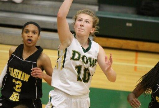 Dow escapes Powers Catholic 59-52 and Ellie Taylor named SVL MVP