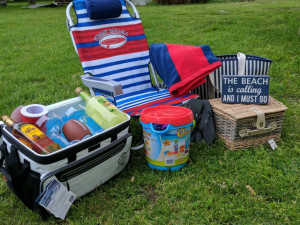 Cooler, chair, and picnic raffle items