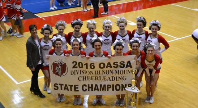 ST.CLAIRSVILLE CHEERLEADERS WIN 4th CONSECUTIVE STATE TITLE.
